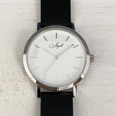 Silver With Black Band Watch